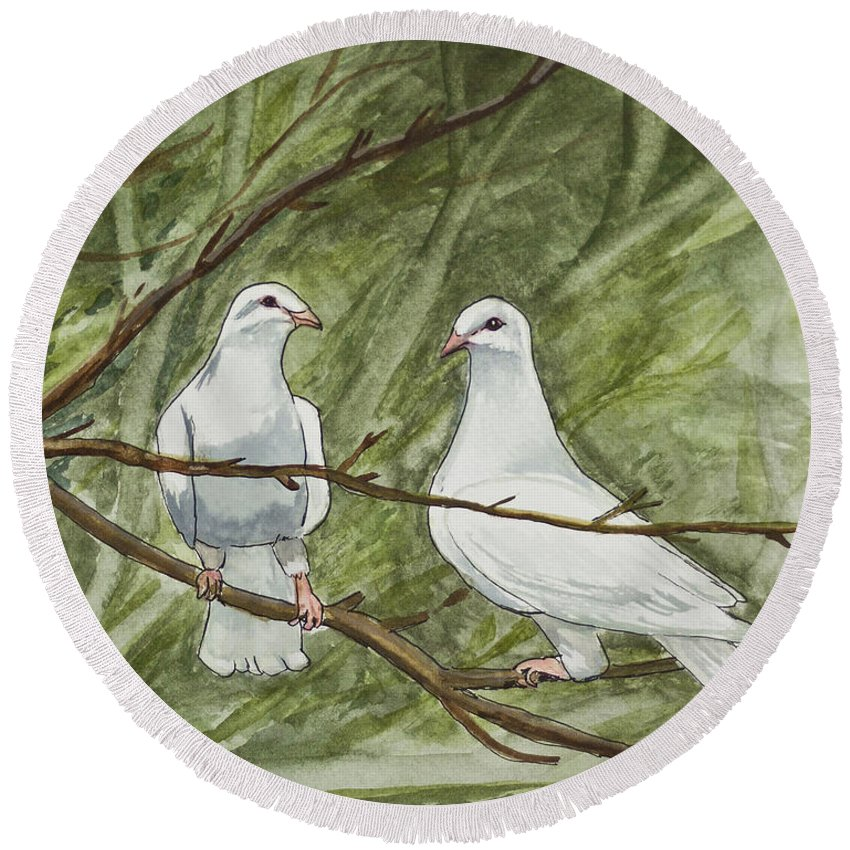 White Round Beach Towel featuring the painting Two White Doves by Janis Lee Colon