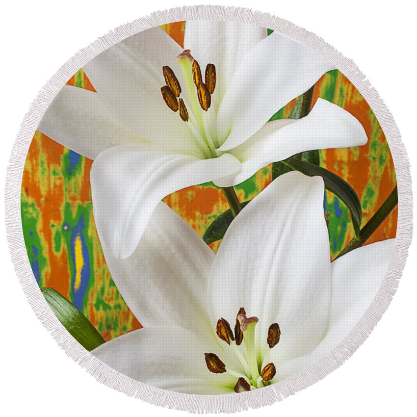 White Lily Round Beach Towel featuring the photograph Two White Lilies by Garry Gay