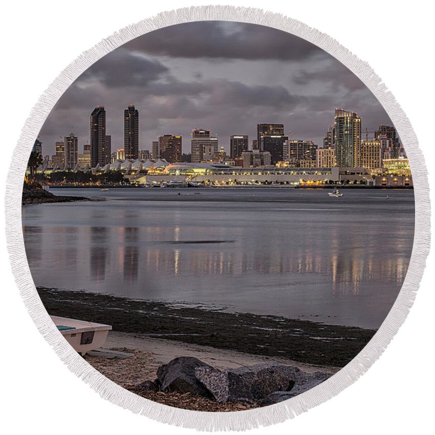 Bay Round Beach Towel featuring the photograph Two Worlds by Peter Tellone