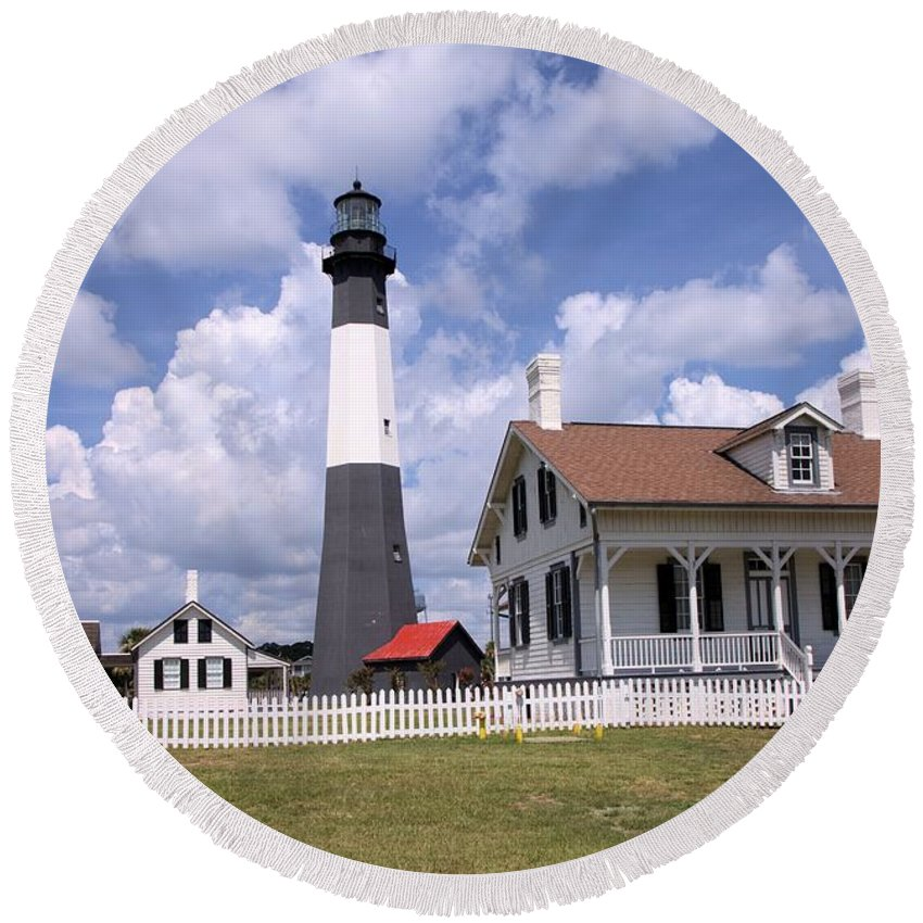 1813 Round Beach Towel featuring the photograph Tybee Island Light by Gordon Elwell