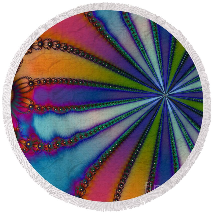 Tye Dye Round Beach Towel featuring the digital art Tye Dye by Kimberly Hansen