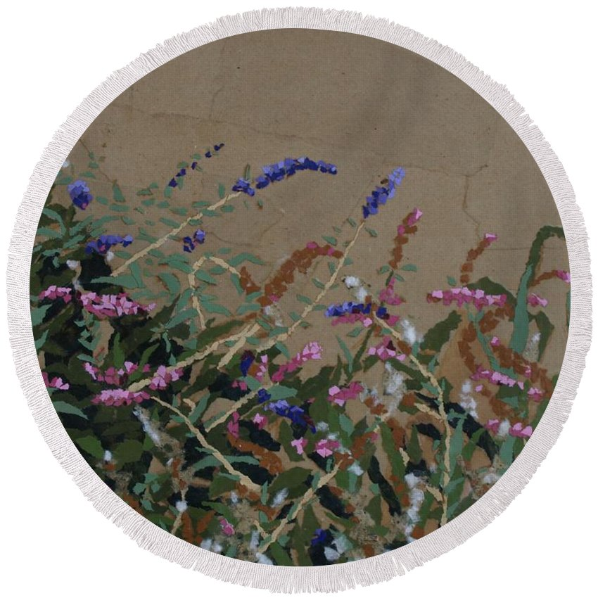 Flowering Butterfly Bush Round Beach Towel featuring the painting Tyler by Leah Tomaino