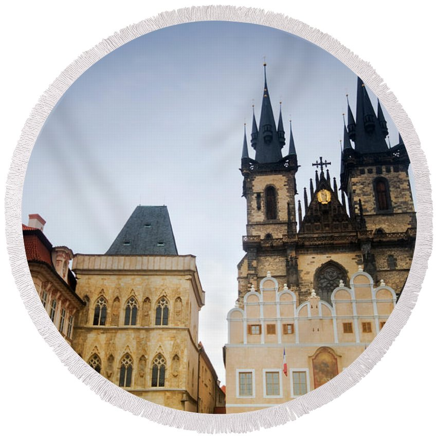 Architecture Round Beach Towel featuring the photograph Tyn Church In Prague by Michal Bednarek