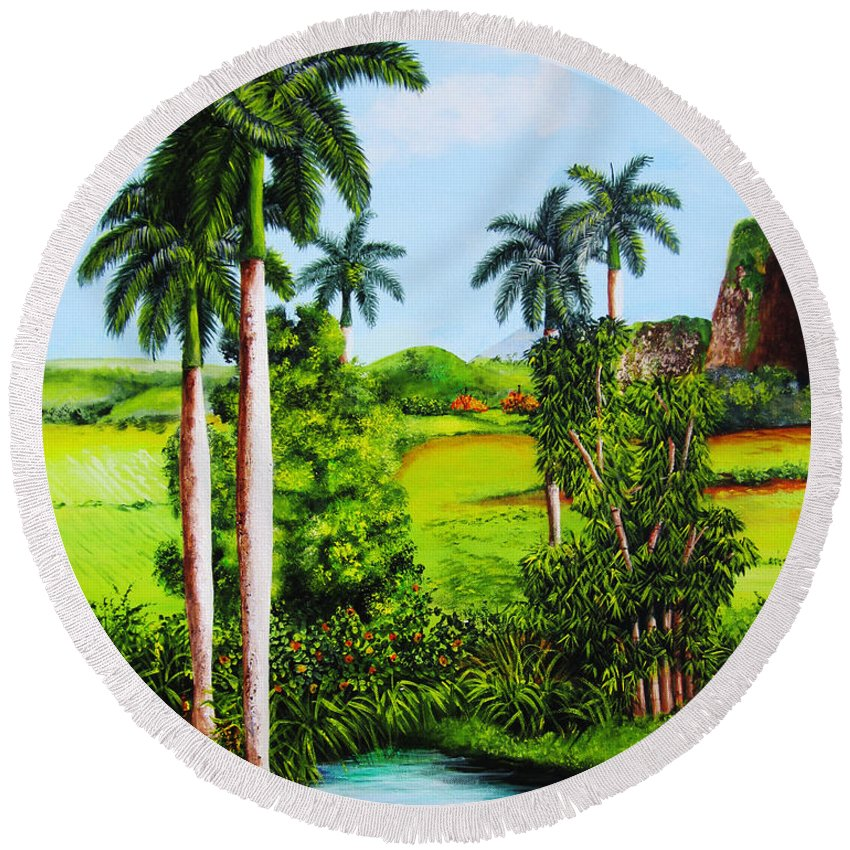 Matanzas Round Beach Towel featuring the painting Typical Country Cuban Landscape by Dominica Alcantara