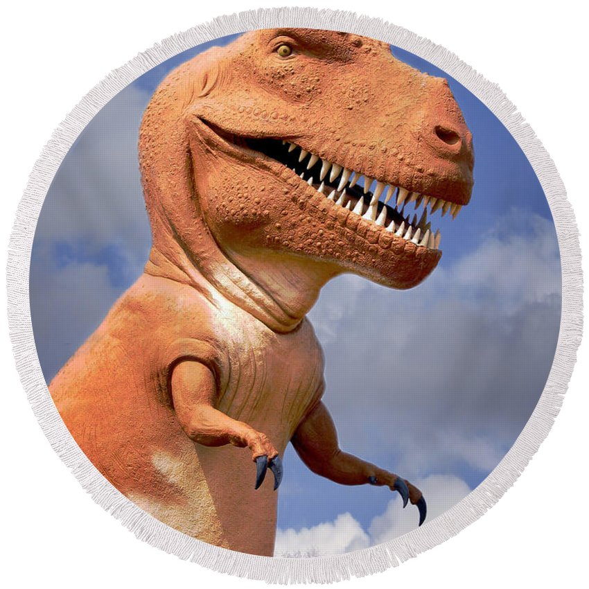 Dinosaur Round Beach Towel featuring the photograph Tyrannosaurus by David and Carol Kelly