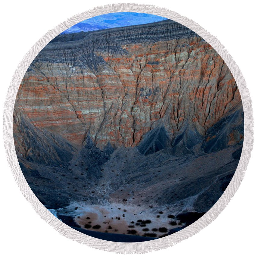 California Round Beach Towel featuring the photograph Ubehebe Crater Twilight Death Valley National Park by Ed Riche