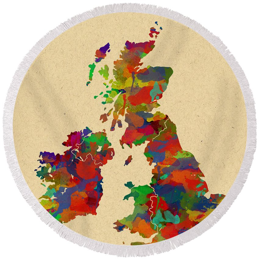 Map Art Round Beach Towel featuring the photograph Uk Watercolor Map by Chris Smith