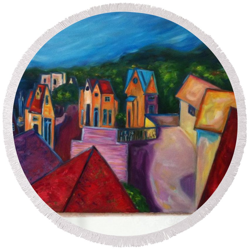 Landscape Round Beach Towel featuring the painting Ultimate Passion by Janet Lilethia Harvey