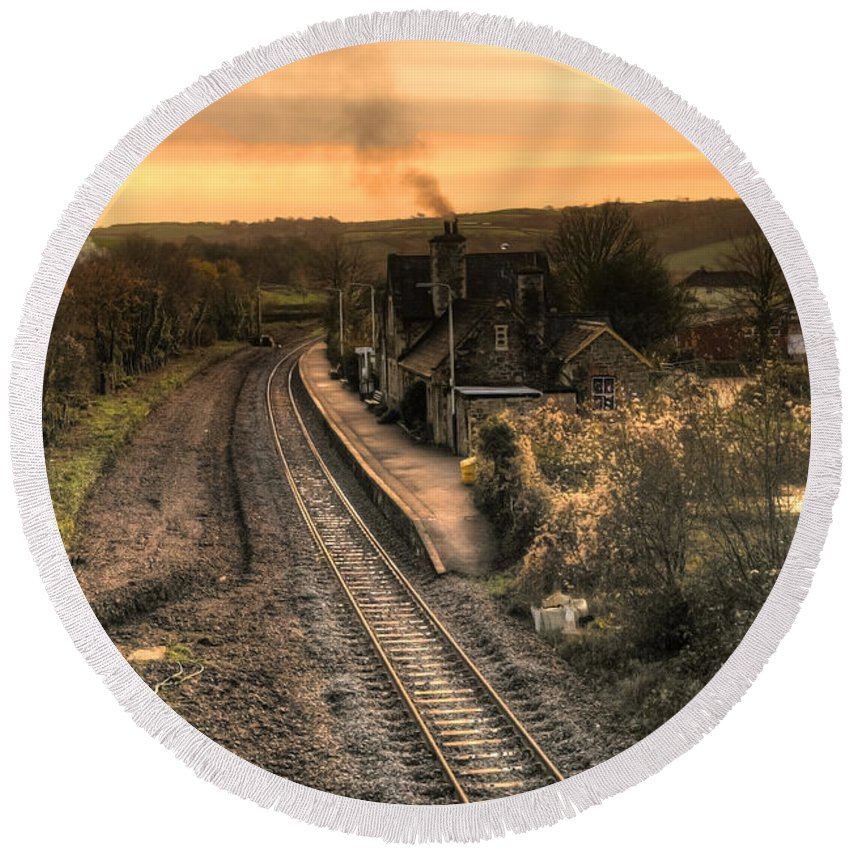 Umberleigh Round Beach Towel featuring the photograph Umberleigh Station by Rob Hawkins