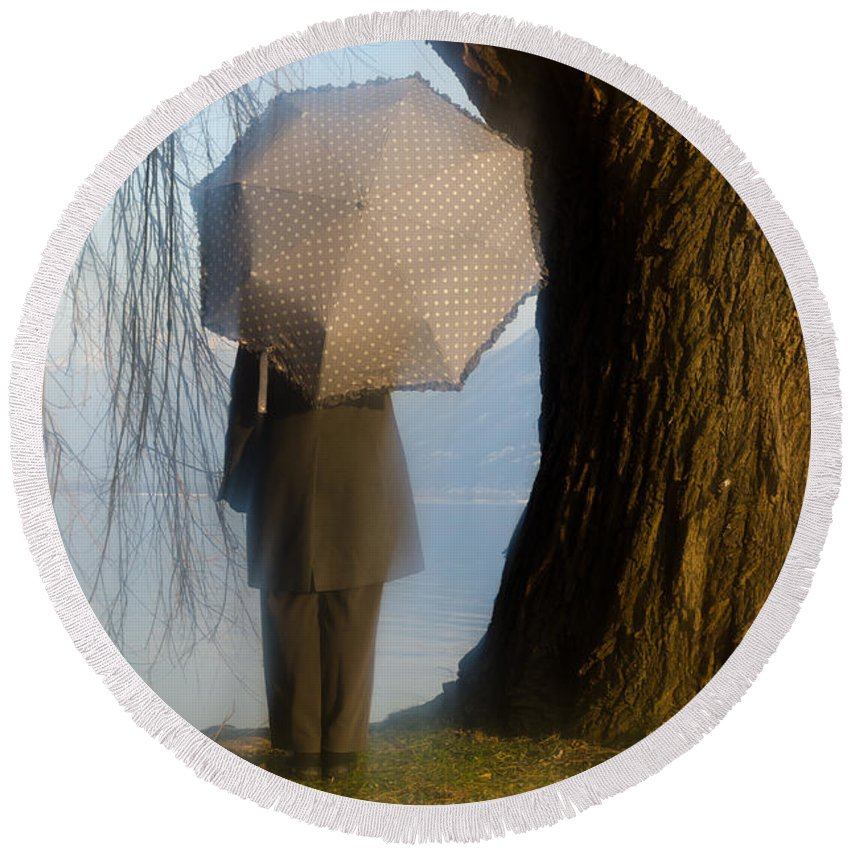 Woman Round Beach Towel featuring the photograph Umbrella And Tree by Mats Silvan