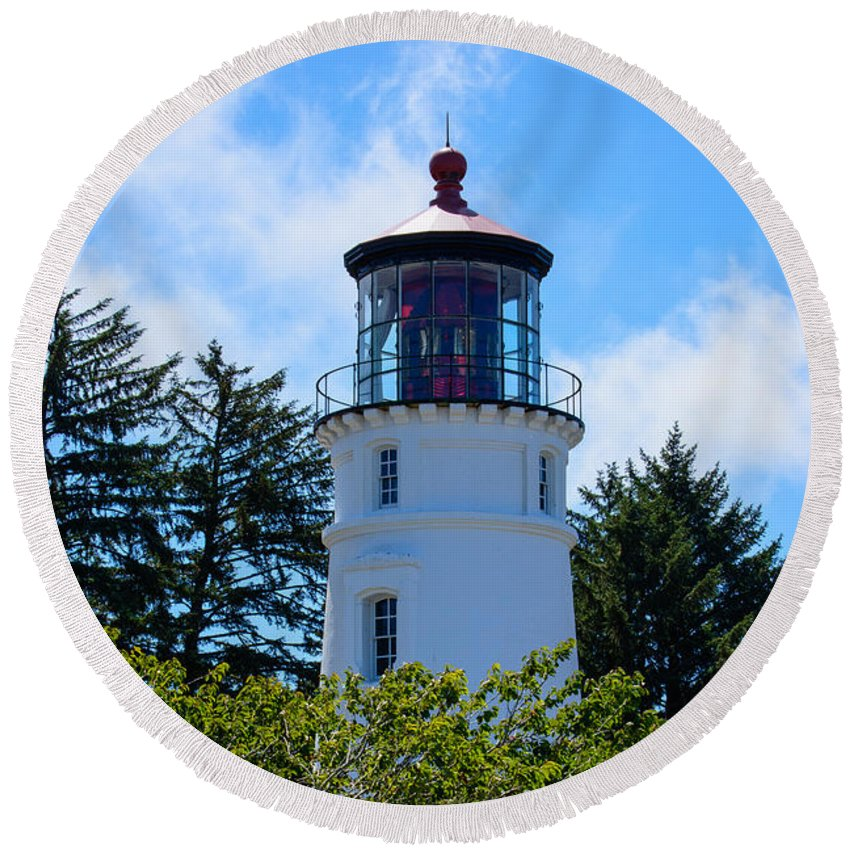 Lighthouse Round Beach Towel featuring the photograph Umpqua River Lighthouse by Tikvah's Hope