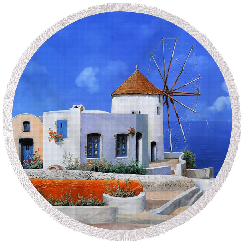 Greece Round Beach Towel featuring the painting un mulino in Grecia by Guido Borelli