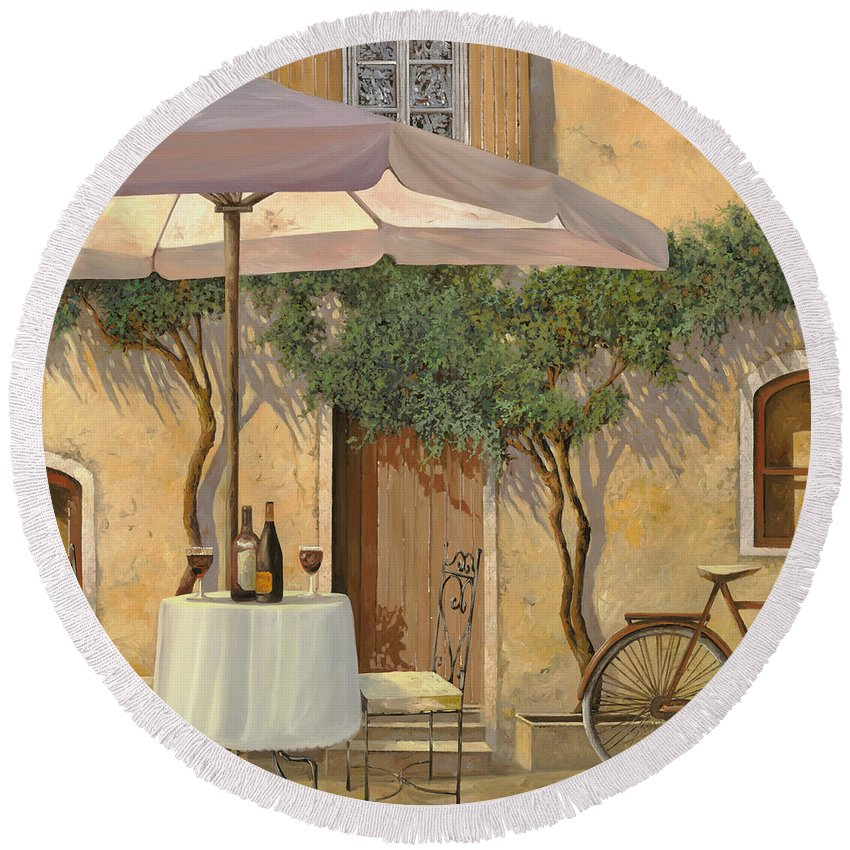 Courtyard Round Beach Towel featuring the painting Un Ombra In Cortile by Guido Borelli