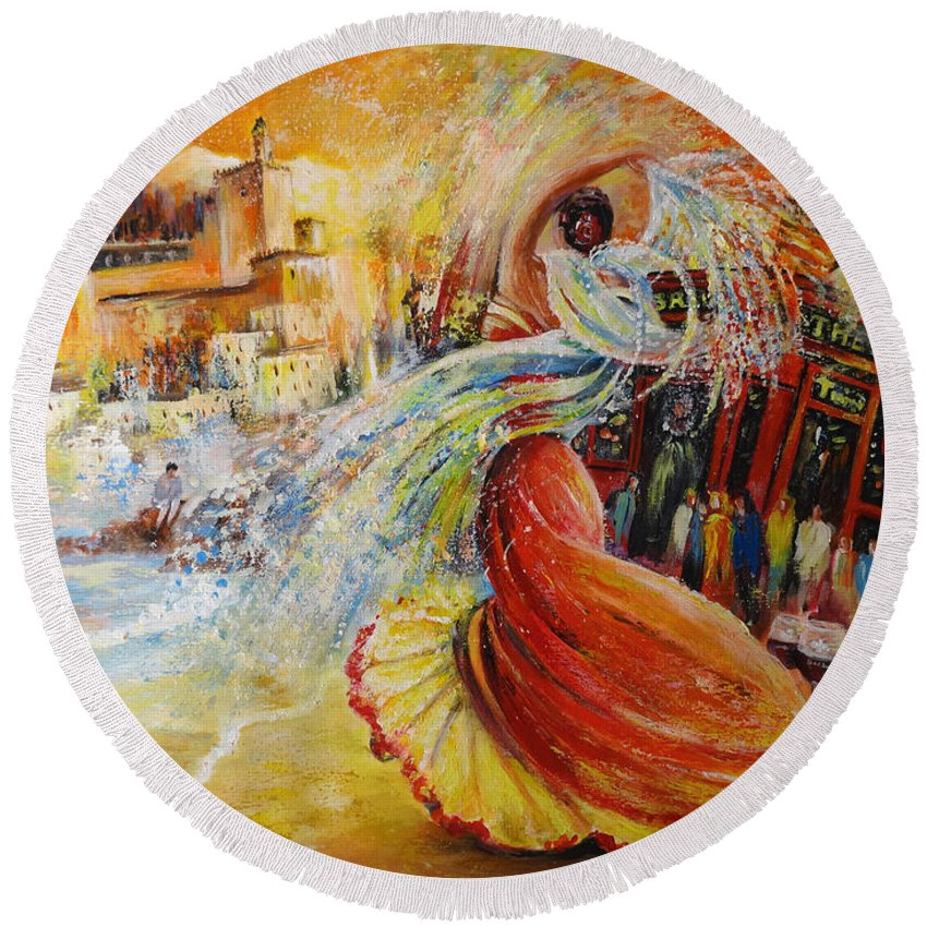 Travel Round Beach Towel featuring the painting Una Vida by Miki De Goodaboom