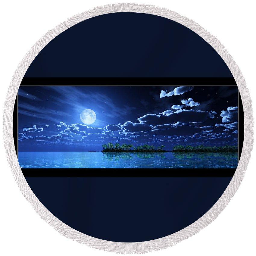 Landscape Round Beach Towel featuring the digital art Under A Silvery Moon... by Tim Fillingim