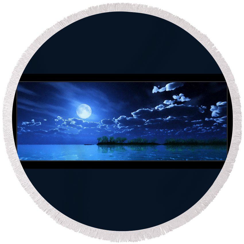 Landscape Round Beach Towel featuring the digital art Under A Silvery Moon...artistic Effect by Tim Fillingim