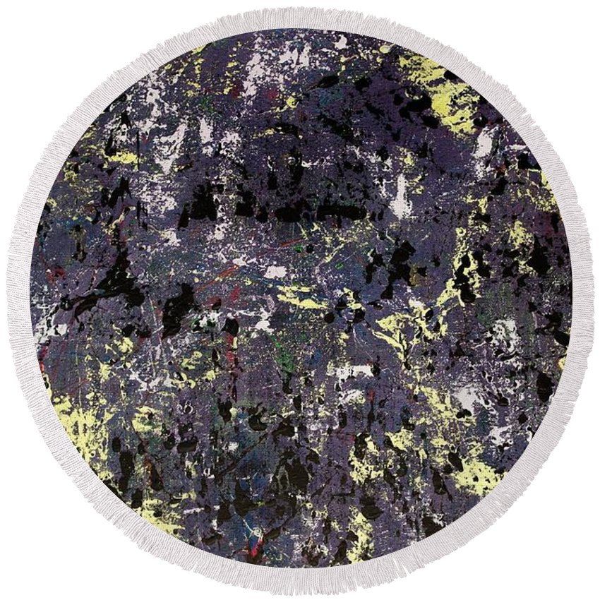 Abstract Round Beach Towel featuring the painting Under Cover by Wayne Cantrell