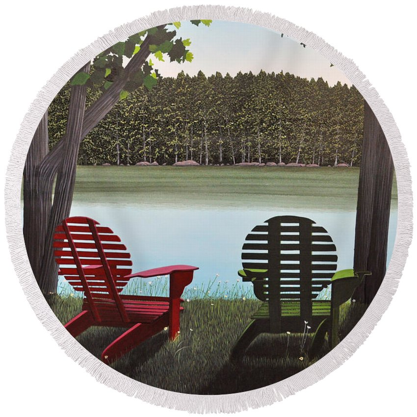 Landscapes Round Beach Towel featuring the painting Under Muskoka Trees by Kenneth M Kirsch
