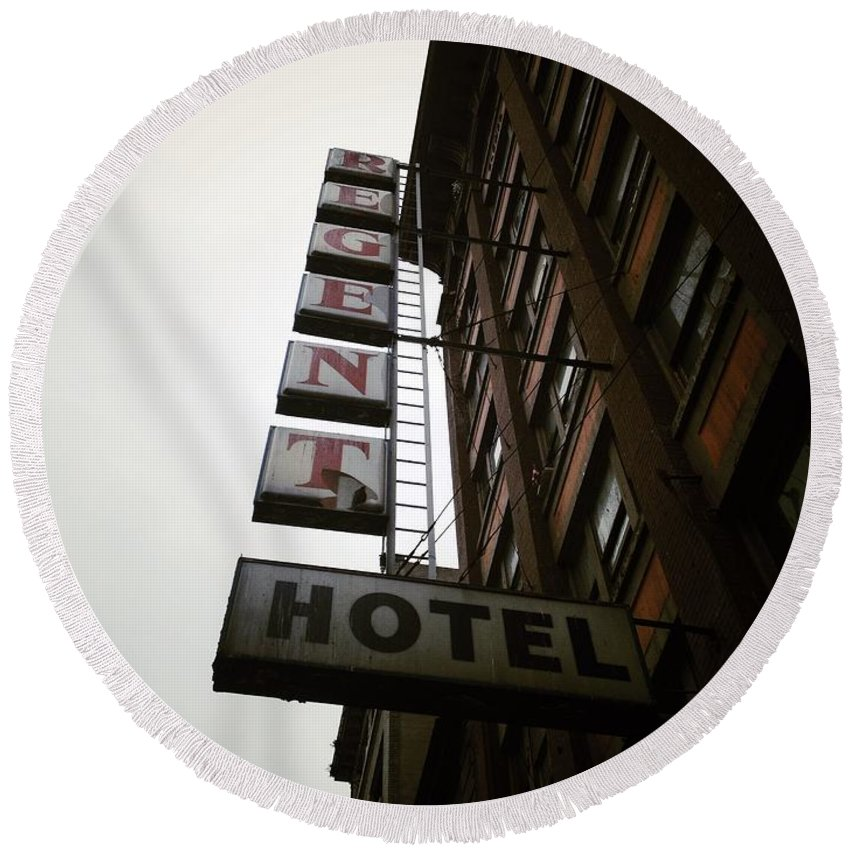 Street Round Beach Towel featuring the photograph Under Regent Hotel by The Artist Project