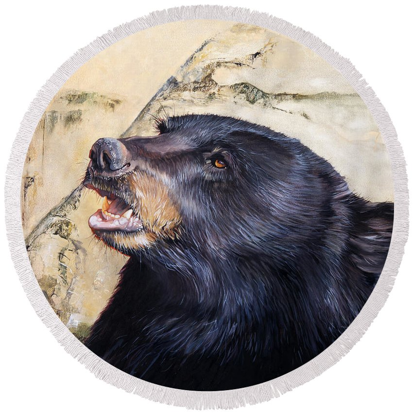 Black Bear Round Beach Towel featuring the painting Under The All Sky by J W Baker