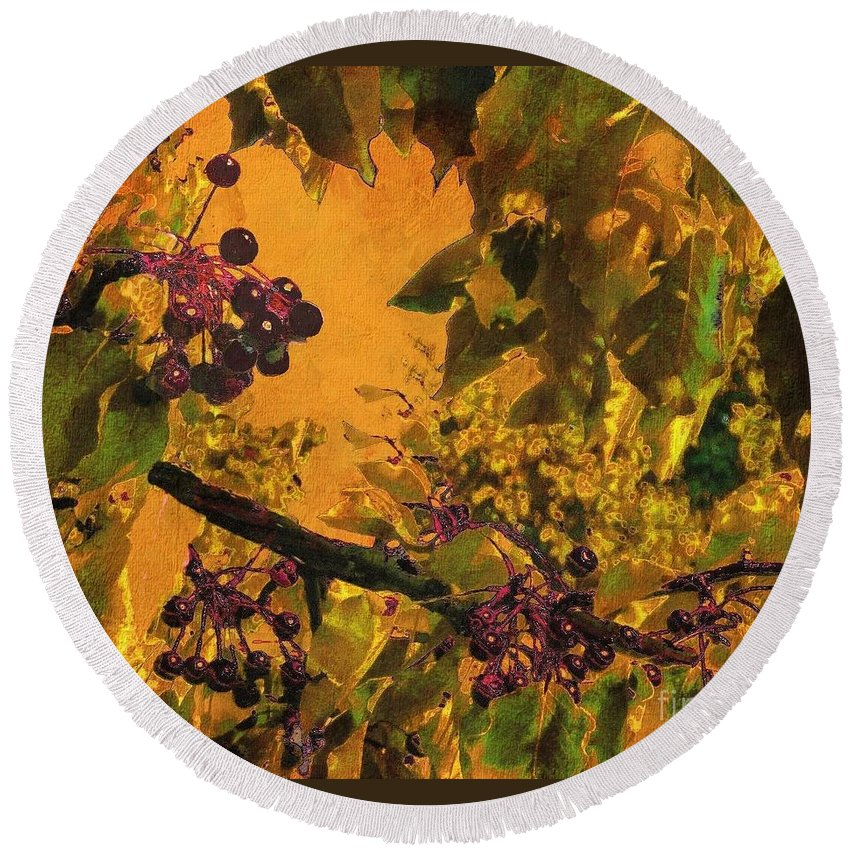 Chokecherry Round Beach Towel featuring the photograph Under The Chokecherry Tree by Janette Boyd