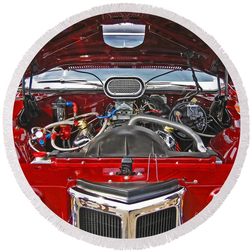 Car Round Beach Towel featuring the photograph Under The Hood by Ann Horn