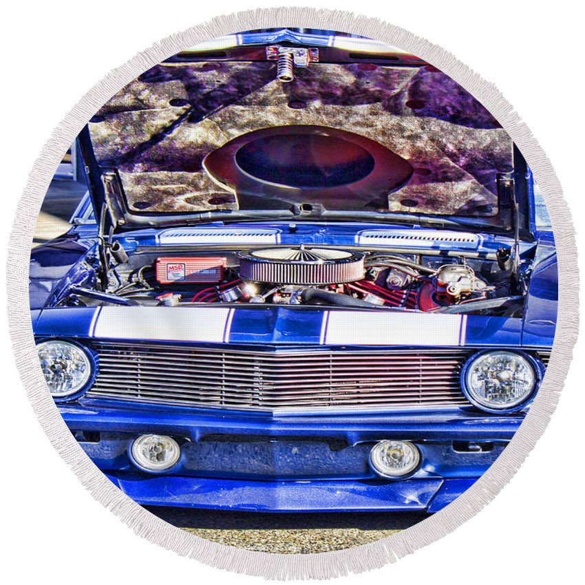 Chevrolet Camaro Round Beach Towel featuring the photograph Under The Hood by Cathy Anderson
