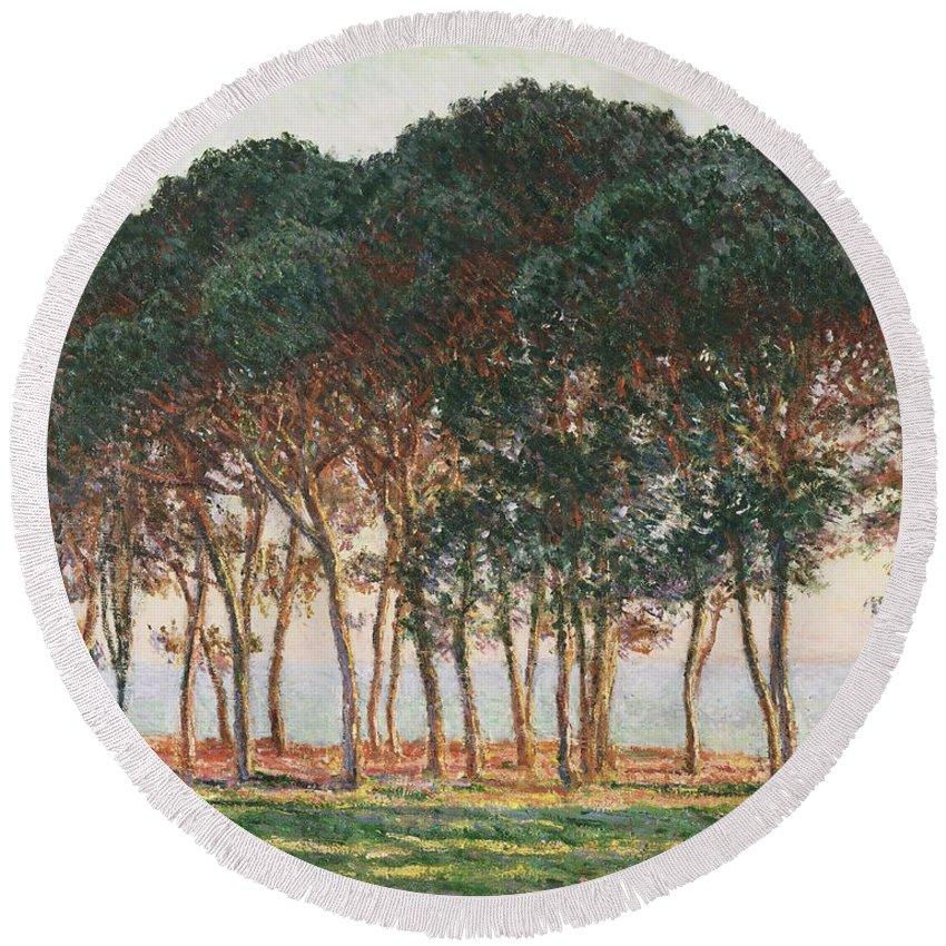 Claude Monet Round Beach Towel featuring the painting Under The Pines. Evening by Claude Monet