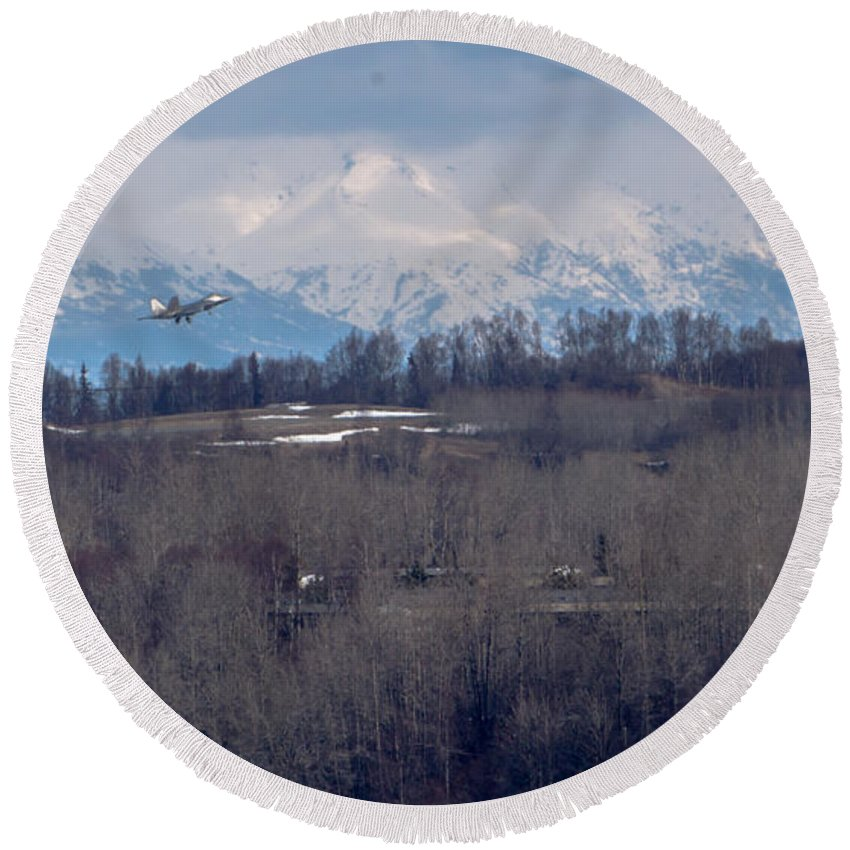 F-22 Raptor Photographs Round Beach Towel featuring the photograph Under The Radar by Thomas Sellberg