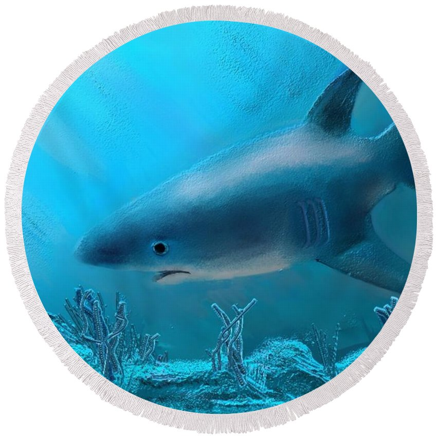 Shark Round Beach Towel featuring the painting Under The Sea by Karen Harding