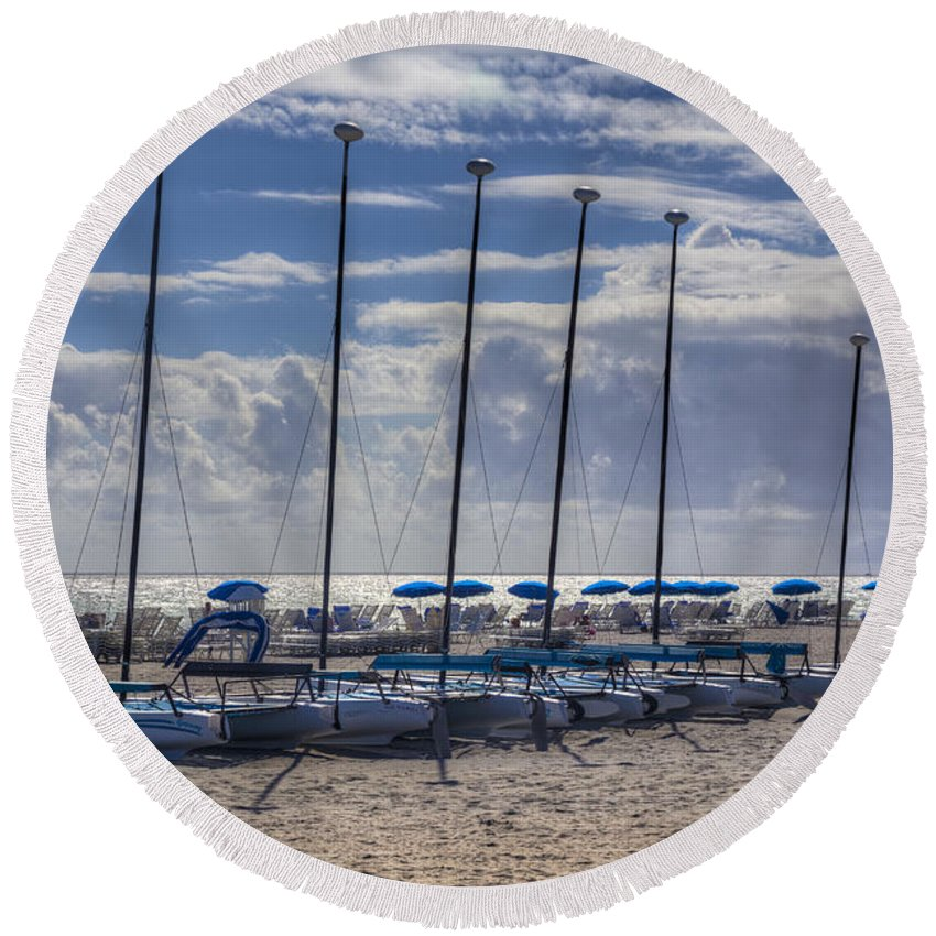 Boats Round Beach Towel featuring the photograph Under The Sun by Debra and Dave Vanderlaan