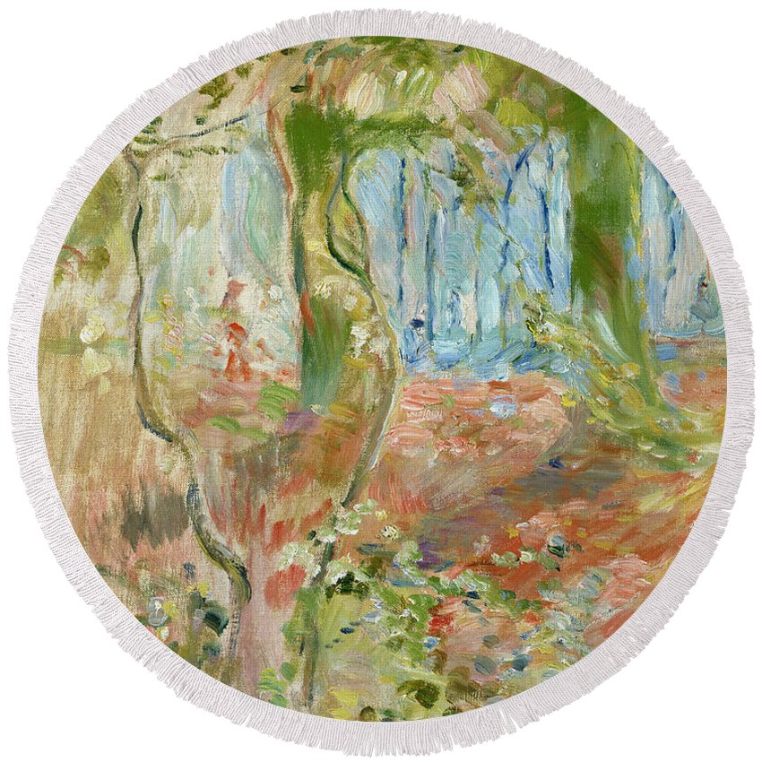 Sous-bois En Automne; Autumnal; Impressionist; Woodland; Wood Round Beach Towel featuring the painting Undergrowth In Autumn by Berthe Morisot