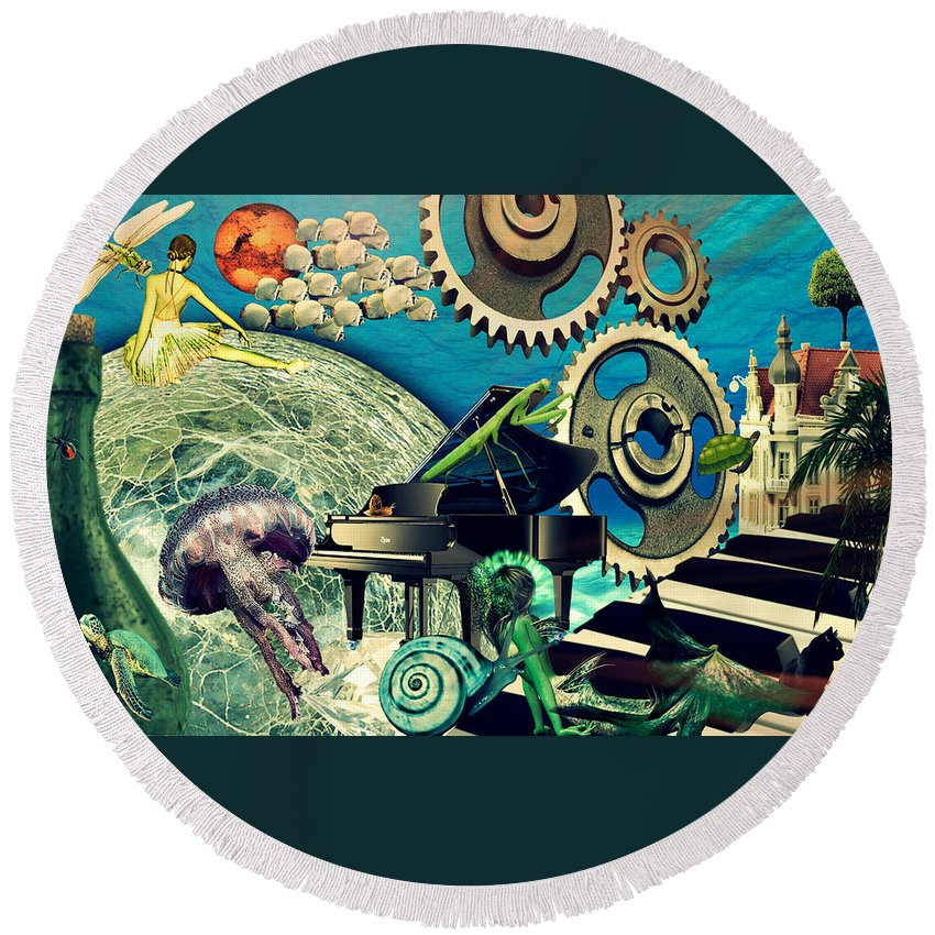 Surreal Round Beach Towel featuring the digital art Underwater Dreams by Ally White