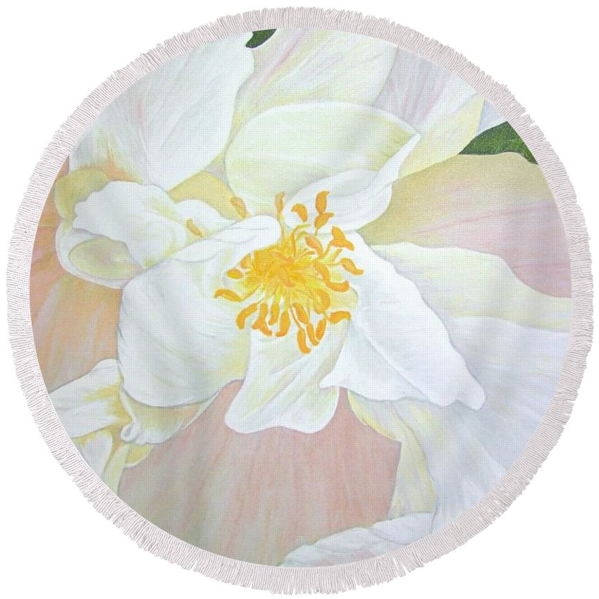White Round Beach Towel featuring the painting Unfurling White Hibiscus by Mary Deal