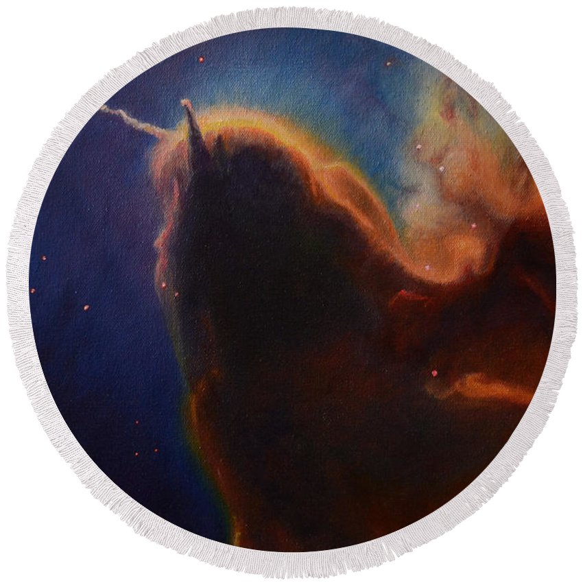 Astronomy Round Beach Towel featuring the painting Unicorn Nebula by Maja Opacic