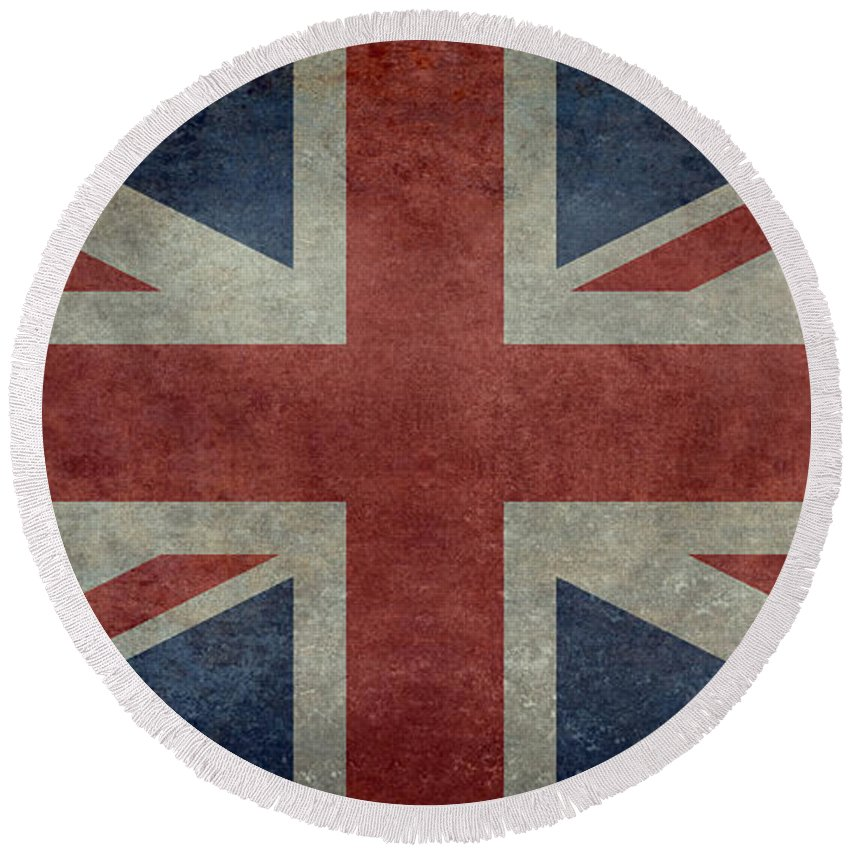 Uk Round Beach Towel featuring the digital art Union Jack 1 By 2 Version by Bruce Stanfield