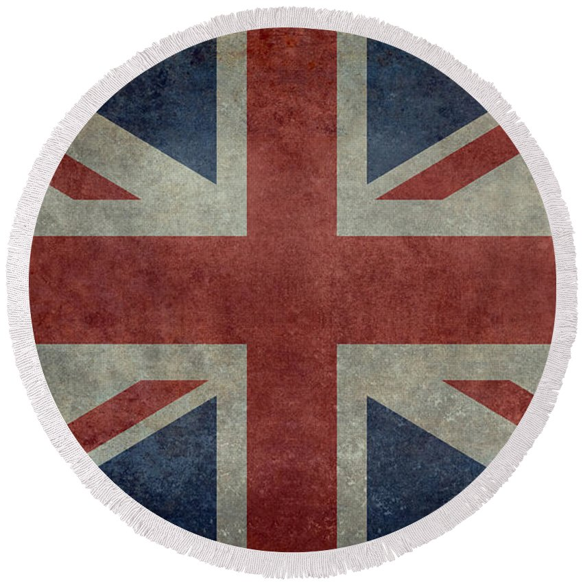 Red Round Beach Towel featuring the digital art Union Jack 3 By 5 Version by Bruce Stanfield
