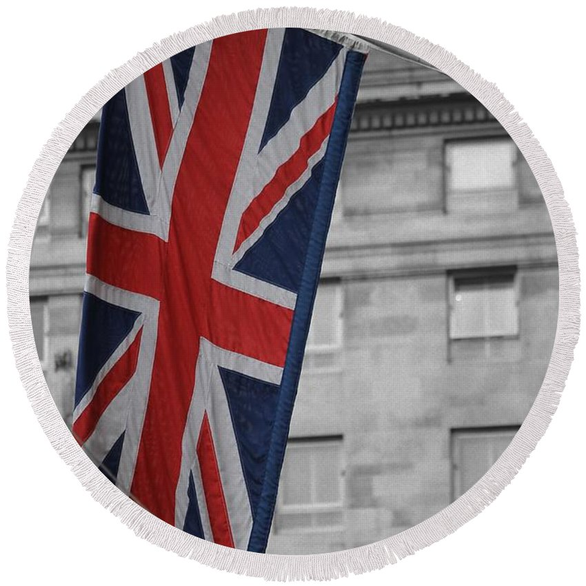 Union Jack Flag English Great Britain 1801 Black White Photograph Bw Sw Color Art Round Beach Towel featuring the photograph Union Jack by Steve K