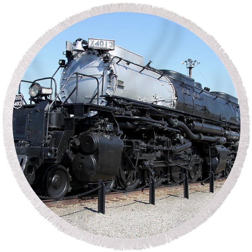 Union Pacific Big Boy Round Beach Towel featuring the photograph Union Pacific Big Boy by Christiane Schulze Art And Photography