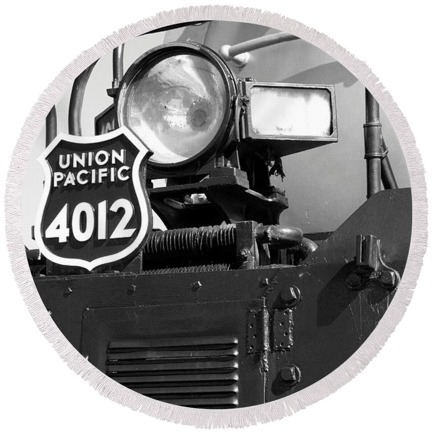 Union Pacific Round Beach Towel featuring the photograph Union Pacific Big Boy Detail by Christiane Schulze Art And Photography