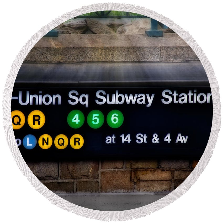 Union Square Round Beach Towel featuring the photograph Union Square Subway Station by Susan Candelario