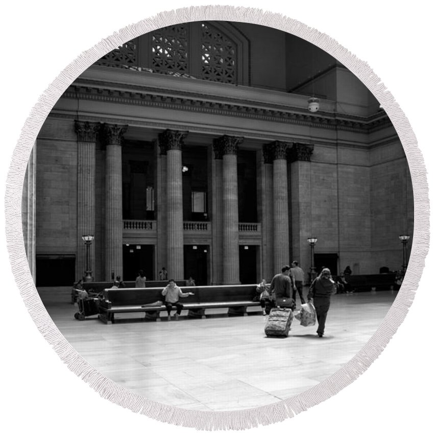 Union Station Round Beach Towel featuring the photograph Union Station Chicago The Great Hall by Thomas Woolworth