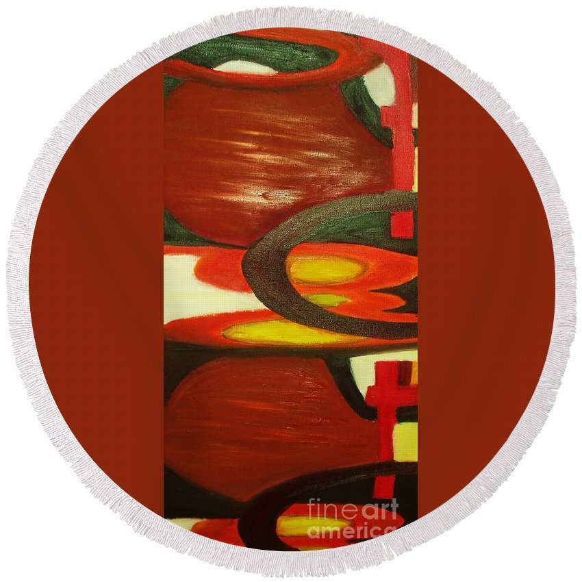 Oil Abstract Round Beach Towel featuring the painting Unique I by Yael VanGruber