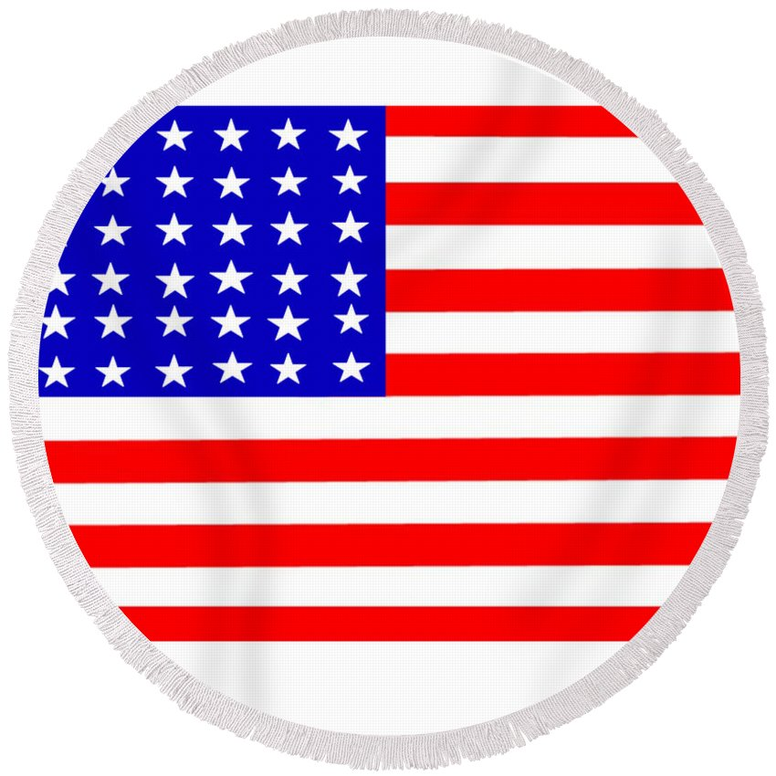 United Round Beach Towel featuring the digital art United States 30 Stars Flag by Frederick Holiday