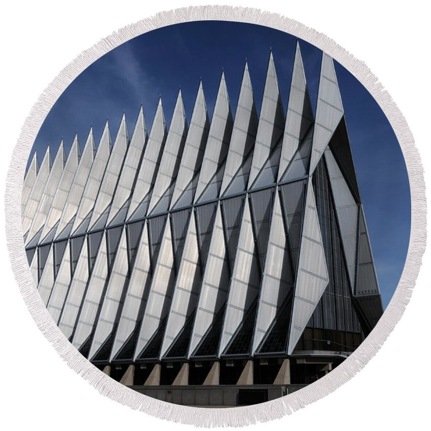 United States Air Force Academy Cadet Chapel Round Beach Towel featuring the photograph United States Air Force Academy Cadet Chapel by Vivian Christopher