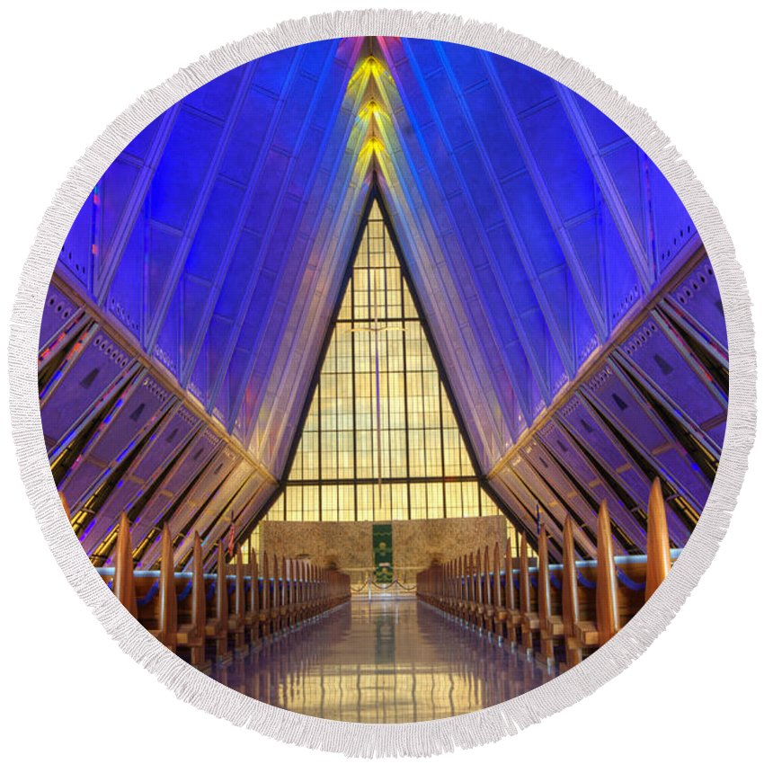 United States Air Force Academy Chapel Round Beach Towel featuring the photograph United States Airforce Academy Chapel Interior by Bob Christopher