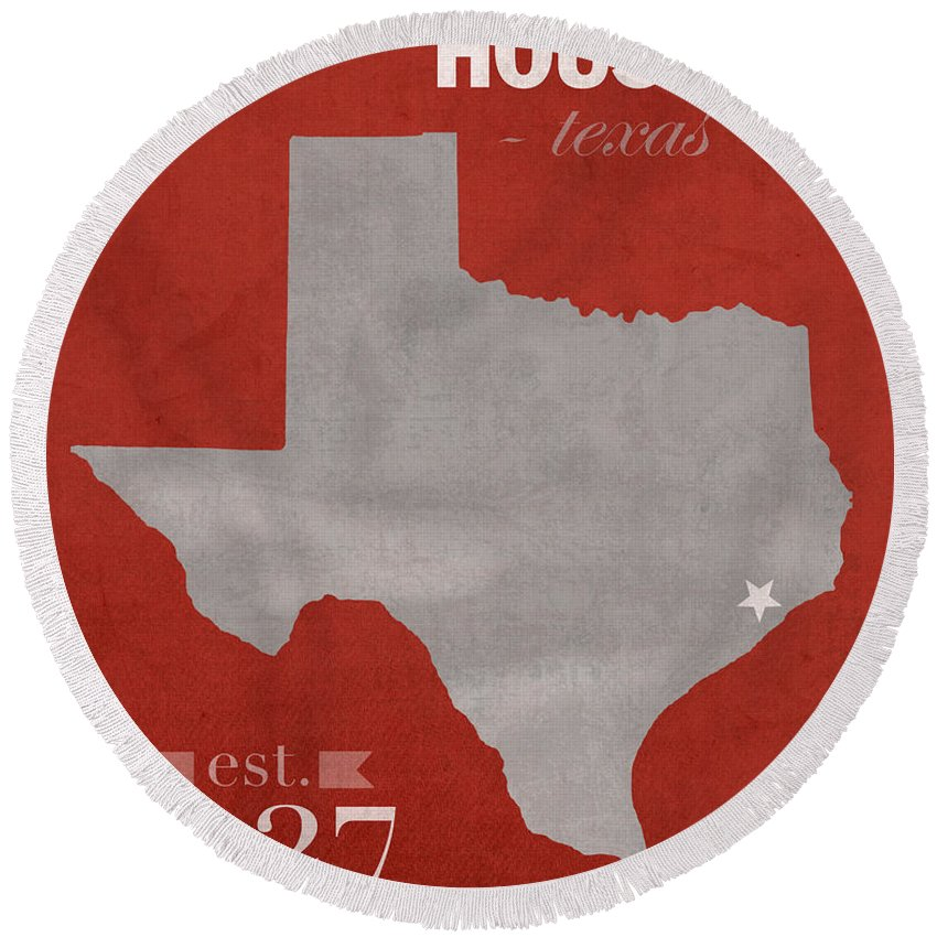University Of Houston Round Beach Towel featuring the mixed media University Of Houston Cougars Texas College Town State Map Poster Series No 045 by Design Turnpike