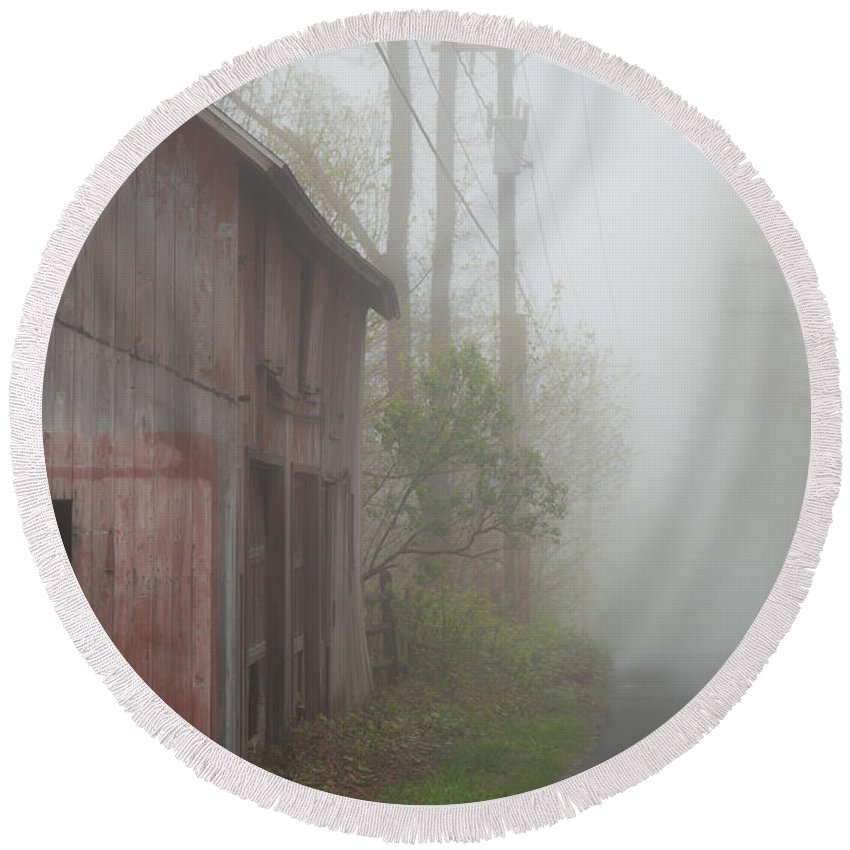Fog Drifts In Round Beach Towel featuring the photograph Unknown Where The Road Will Take You by Karol Livote