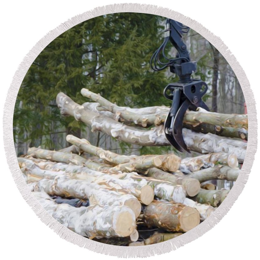 Autumn Round Beach Towel featuring the painting Unloading Firewood 4 by Jeelan Clark