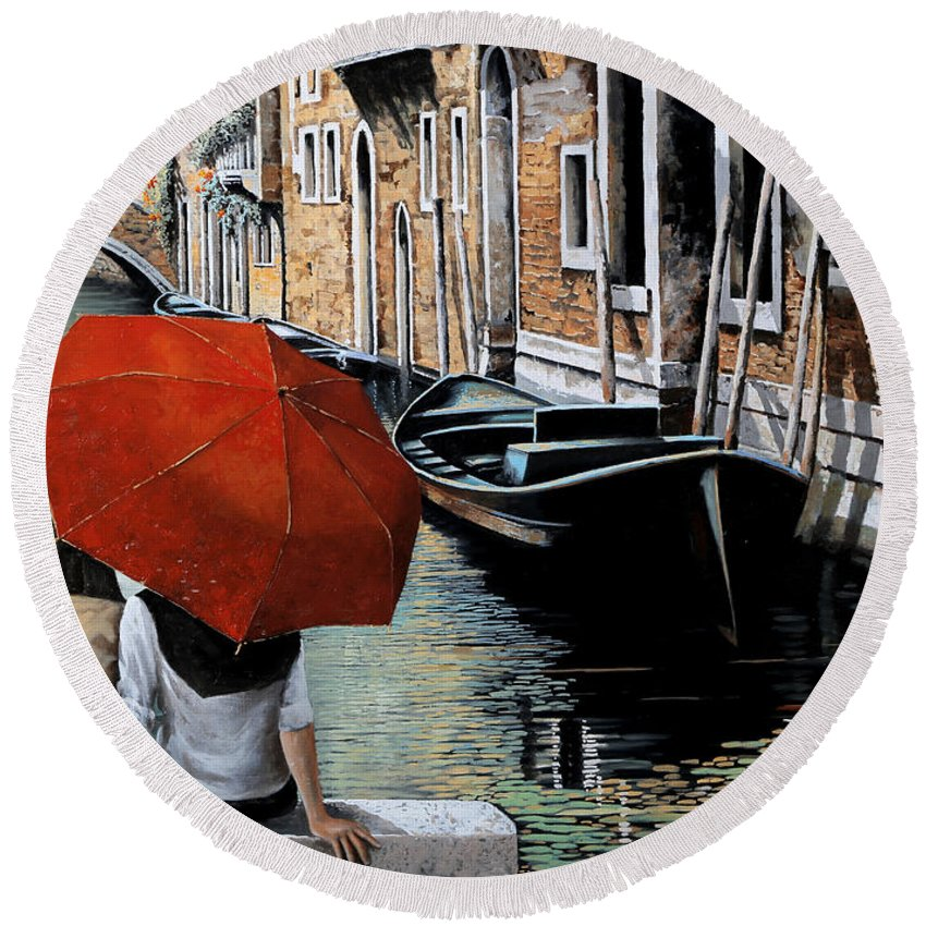 Canal Scene Round Beach Towel featuring the painting Uno Sguardo Al Canale by Guido Borelli